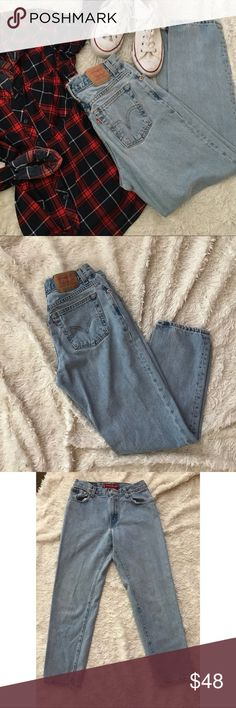 LEVI'S 550 Mom Jeans Levi's Vintage 550 light-wash tapered bootcut jeans with a high waist. Measurement posted soon!! Small flaws shown in photo. (Flannel will also be available soon). ✨OFFERS WELCOME✨ Levi's Jeans Boot Cut