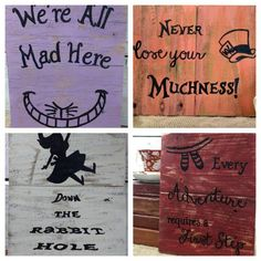 Alice in Wonderland Art, Alice in wonderland pallet board signs, Mad hatter art, Cheshire Cat Art, Dinsey inspired pallet board signs by EdisonAvenue on Etsy