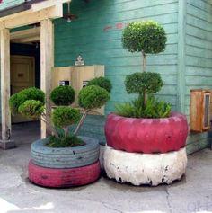 autoreifen recycling Möbel aus Autoreifen ständer pflanzen