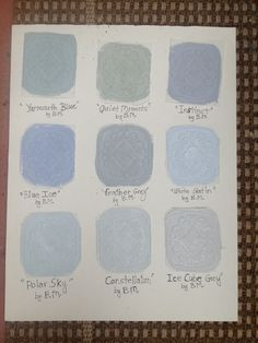 """Hand painted Benjamin Moore  GREY INTERIOR PAINT SAMPLES  These Grey wall colors were hand painted with 2 coats each on Home Depot Paintable Wallpaper   1. Yarmouth Blue"""".   2. Quiet Moments""""  3.  Instinct""""  4.  Blue Ice.  5. Feather Grey 5.  White Satin"""".  6.  Polar Sky"""".   7. Constellation   8. Ice Cube Grey   They were photographed with cloud cover  At 12:35 pm   They have dried now for 1 hour outside."""