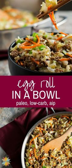 One Pan Egg Roll in a Bowl - low carb, paleo, AIP - Recipes Healthy Paleo Recipes, Asian Recipes, Low Carb Recipes, Real Food Recipes, Cooking Recipes, Paleo Food, Healthy Egg Rolls, Paleo Dinner, Whole 30 Recipes
