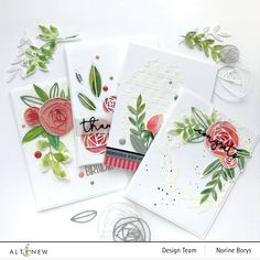 Altenew Rolled Roses Cards x 4 – Velvetlemon Flower Stamp, Flower Cards, Altenew Cards, Vellum Paper, Little Rose, Leaf Coloring, Beautiful Handmade Cards, Coordinating Colors, Watercolor Cards