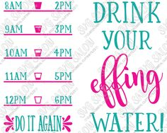 Drink Your Effing Water Fitness Quote Custom DIY Motivational Water Bottle Vinyl Decal Cutting File Set in SVG, EPS, DXF, JPEG, and PNG Format