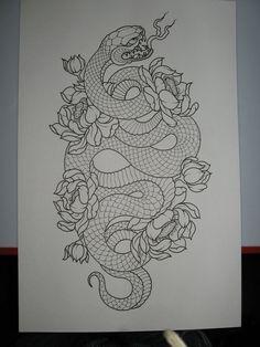 2011 snake & lotus flowers lineart