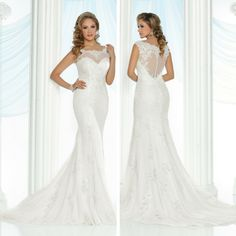 This elegant bridal gown is featured in our DaVinci Bridal spring 2017 collection.  It has beautiful lace sewn along the neckline and back.