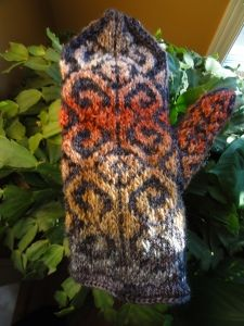 """Fiddlehead Mittens"" in Silk Garden Noro Yarn. Colour work knitting"
