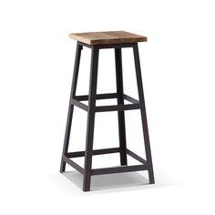 Tabouret de bar industriel carré en bois et métal