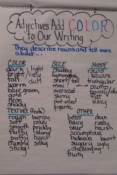 Lesson Adjectives anchor chart (make into a class book for writing tools section in the writing centre) Teaching Grammar, Teaching Language Arts, Teaching Writing, Writing Activities, Adjectives Activities, Kindergarten Writing, Writing Strategies, Writing Lessons, Writing Skills