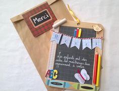 Réservé MURIELLE-MARTIN4 Ardoise décorée cadeau maître ou maîtresse primaire : Décorations murales par au-comptoir-des-anges