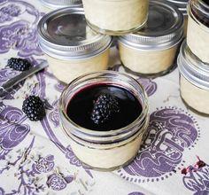 Jarred Lavender Custard with Blackberry Gin Glaze Jarred Lavender Custard  makes 12-14, 4-oz. jars    4 cups heavy cream  1/4 cup dried lavender  2 tsp. vanilla bean paste or 1 vanilla bean, scraped  8 egg yolks  3/4 cup granulated sugar