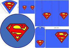 "The Superman Symbol Free Printable Kit includes: labels, Tags, Toppers and Cones. If you want to print them in a bigger size than you can use ""posteriza Free Printable Invitations, Free Printable Gift Tags, Free Printables, Happy Birthday Tag, Birthday Tags, Superman Crafts, Birthday Event Ideas, Superhero Template, Super Hero Day"