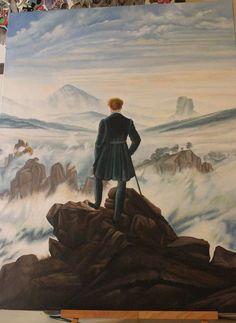 """ho provato a copiare il quadro """"Il viandante di fronte al mare di nebbia"""". E' stato bello dipingerlo!"""