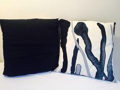 Navy vine cushions