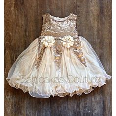 Gold Sequin Flower Girl Dress Ivory and Gold by BabicakesCouture
