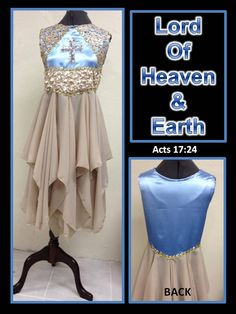 """The Master's Touch Creations Garments & Instrument LLC features our overlay called """"LORD OF HEAVEN & EARTH"""".  To see more beautiful praise garments & instruments visit us at: www.themasterstouchcreations.com   Our inspiration was Acts 17:24  God that made the world and all things therein, seeing that he is Lord of heaven and earth, dwelleth not in temples made with hands"""