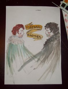 "i'll never get over these feels  ""Farewell Brother""  #asoiaf #got #game of thrones  #robb stark #jon snow #drawings #DunnoHowTheseTagsWorks"