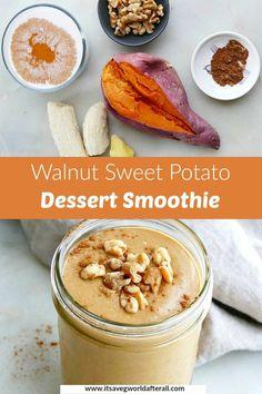 Veggie Snacks, Healthy Vegetable Recipes, Vegetable Smoothies, Healthy Vegan Desserts, Vegetarian Food, Sweet Potato Smoothie, Sweet Potato Dessert, Sweet Potato Recipes, Vegan Shakes