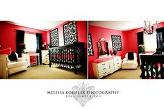Red walls with black and white furniture this time