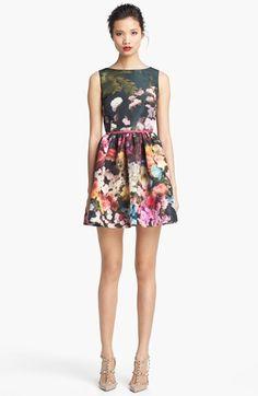 RED Valentino Garden Print Full Skirt Dress