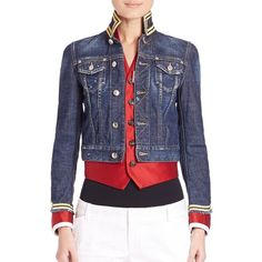 DSQUARED2 Lord Distressed Cropped Denim Jacket ($450) ❤ liked on Polyvore featuring outerwear, jackets, apparel & accessories, blue, long sleeve jean jacket, blue jean jacket, striped jacket, denim jacket и cropped denim jacket