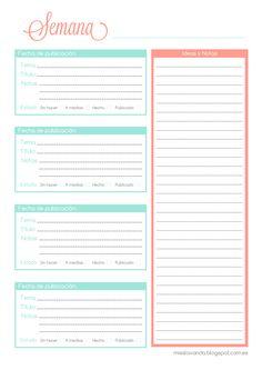 Freebies: Organizador de entradas para el blog | Miss Lavanda
