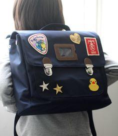 Custom patch work of navy school bag for kids TYPE B #04