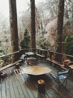 Mountain lodge patio inspiration, in the crisp autumnal woods. Future House, My House, Outdoor Spaces, Outdoor Living, Cabin In The Woods, My Dream Home, The Great Outdoors, Interior And Exterior, Beautiful Places