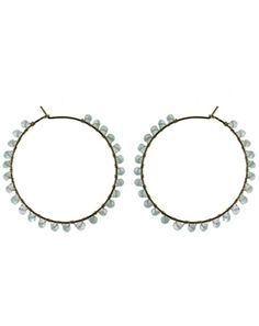 """Delicate, gemstone-studded Allure Gem Cascade Hoop earrings are available in four beautiful colors. Blue, green, pink, and purple gemstone 1.75"""" diameter hoop earrings are available in 14k gold fill or sterling silver. #Nashelle #NashelleJewelry #AllureCollection #Fashion #FashionFeedingHunger #Charity #FeedingAmerica #GiveBack #Love #Jewelry #Custom #WhoWhatWear #PNWStyle #LiveAuthentic #Dazzling #Divine #Love"""