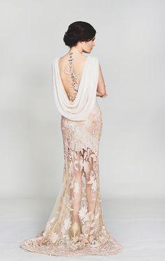 sheer gold wedding dress