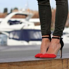 red and black ankle strap pumps