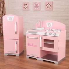 Love this Pink Retro Personalized Kitchen & Refrigerator by KidKraft on Kids Play Kitchen, Kitchen Sets, Kitchen Furniture, Kids Furniture, Furniture Movers, Diy Playhouse, Kitchen Refrigerator, Refrigerator Freezer, Woodworking For Kids