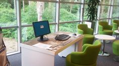 The Cardboard Future Paperweight Desk, made completely out of 100% sustainable cardboard, at the Johnson Controls Head Office in Aldershot