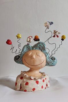 Songe... cool figurative whimsical cermic art sculpture