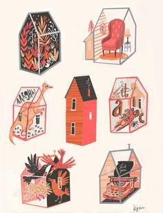 Little boxes Art Print by Karl James Mountford