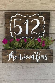 Add a pop of color to the wall of your porch! House Number Planter, Wooden Address Planter Box, Front Porch decor, Flower planter box, Farmhouse decor, Farmhouse porch, Rustic decor, Rustic porch, housewarming gift idea #ad