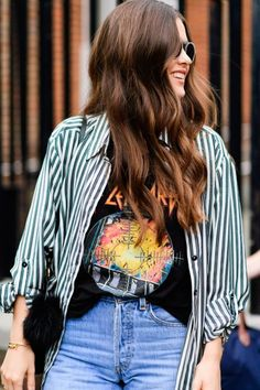 Stripped button up and graphic tee. Jeans. Denim.
