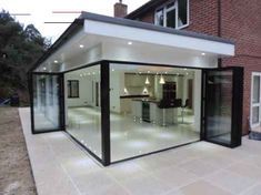 Lights outside roof extended outside of glass - - Hausanbau - House Extension Design, Glass Extension, Extension Designs, Extension Ideas, Rear Extension, Bungalow Extensions, Garden Room Extensions, House Extensions, Orangery Extension