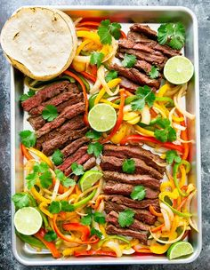 Sheet Pan Steak Fajitas is a fun and easy dinner ready in less than an hour. Everything is cooked in the oven on one sheet pan. You can also swap steak for chicken or shrimp. I love fajitas but I rarely ever make them at home. It always seems like a lot of work. But it's …