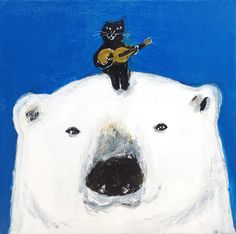 Polar bear and black cat TinTin Cute Polar Bear, Polar Bears, Asian Cat, Japanese Artists, Illustrations And Posters, Dog Art, Unique Art, Painting & Drawing, Illustration Art