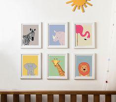 Safari nursery decor, kids wall art, zoo nursery print, animal art, gender neutral baby, set of 6 prints, elephant print, giraffe print