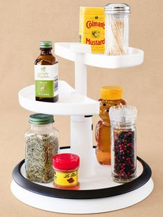 Work Station for Cooking:  Clustering basic implements and ingredients you regularly use in cooking can make meal preparation quicker. Self-contained units do the trick here. Keep often-used utensils on a lazy Susan, with compartments for cooking oil, salt and pepper, and basic condiments.