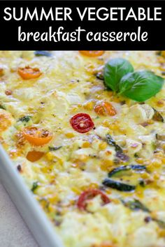 Summer Vegetable Breakfast Casserole is the perfect summer brunch recipe! Filled with all of the best summer produce – corn, tomatoes, zucchini, basil – and made with crescent roll dough, this breakfast casserole is so delicious AND easy!