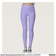 Easter Bunny Diamond Satin Pattern Leggings