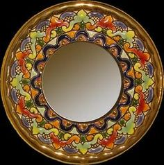 Handmade Mirror W/ Enamels And 24k Gold