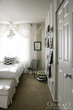 Jones Design Company guest bedroom // gallery wall & paper chandelier ideas!