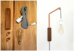 DIY copper pipe wall sconce