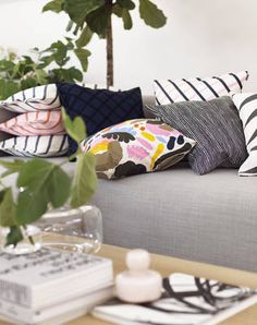 Marimekko Hattarakukka Throw Pillow The impressionistic floral design on the Marimekko Hattarukukka Throw Pillow is bound to leave an impression. The cotton cover is easily removed from the complimentary insert and washed by means o. Marimekko, Jackie Kennedy, Living Room Inspiration, Interior Design Inspiration, Botanical Interior, Textiles, Scandinavian Interior Design, Pillow Sale, Trendy Colors