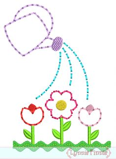 Embroidery Designs - Watering Can with Flower Garden STITCHY Applique 5x7 6x10 7x11 SVG - Welcome to Lynnie Pinnie.com! Instant download and free applique machine embroidery designs in PES, HUS, JEF, DST, EXP, VIP, XXX AND ART formats.