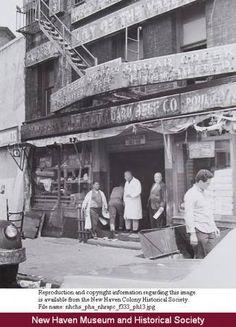 Men in doorway, Standard Beef Co., (State Street) New Haven, prior to redevelopment. :: Connecticut History Online