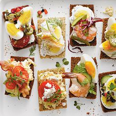 Southern-Style Smørrebrød |   Sparked by the leisurely pleasures of the cocktail-and-canapé Mad Men era, smørrebrød (Danish open-faced sandwiches) are the latest craze in stress-free entertaining. With a little clever prep, you can set out an impressive DIY spread in under an hour. Now we'll toast to that. Skål, y'all! -- MyRecipes.com